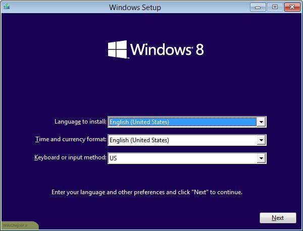 انتخاب زبان در نصب ویندوز 8