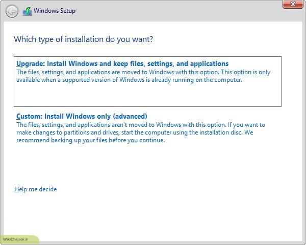 انتخاب نحوه نصب ویندوز 8