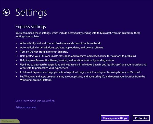 تنظیمات در نصب ویندوز 8