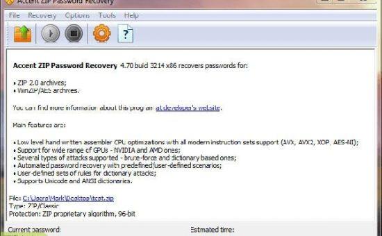 چگونه بانرم افزار Accent ZIP Password Recovery پسورد فایل های زیپ را بازیابی یا برداریم؟