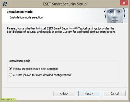 در صورت انتخاب کردن Typical تمامی تنظیمات آنتی ویروس بصورت پیش فرض نصب می شود