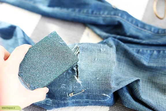 آموزش ریش ریش یا زخمی کردن(زاپ) روی پارچه جین