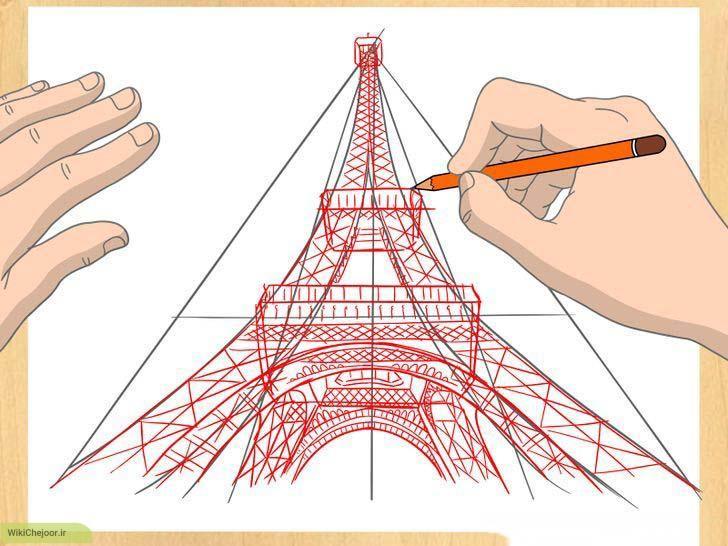 چشم انداز نزدیک نمای سه بعدی برج ایفل