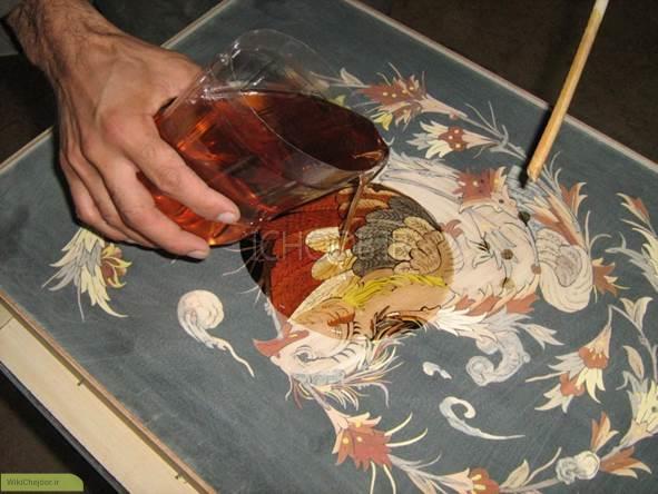 آموزش گام به گام مراحل رنگ کاری معرق چوب(پلی استر)