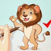 چگونه یک شیر کارتونی نقاشی کنیم؟