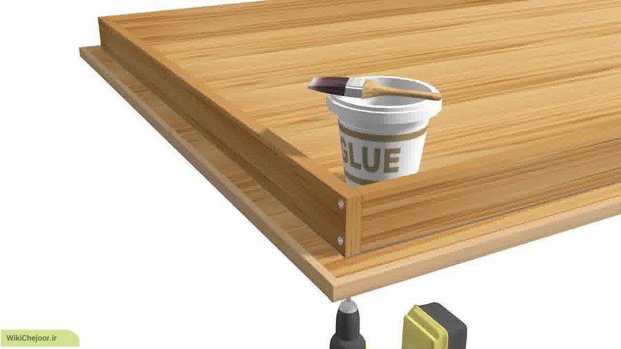 آماده سازی سطح میز و پایه های میز