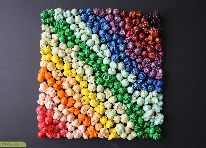 چگونه پاپ کرن (ذرت بو داده، چس فیل) رنگین کمان درست کنیم؟