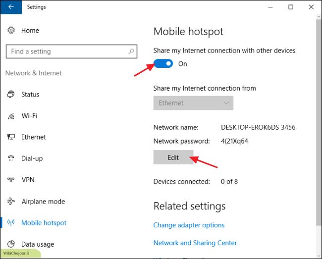 تبدیل اینترنت لپ تاپ به هات اسپات در ویندوز 10
