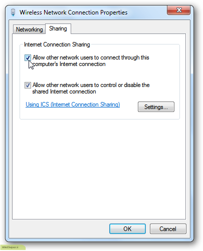 تبدیل اینترنت لپ تاپ به هات اسپات در ویندوز 7