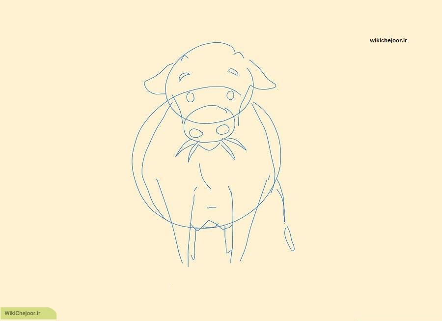 نقاشی گاو از رو به رو
