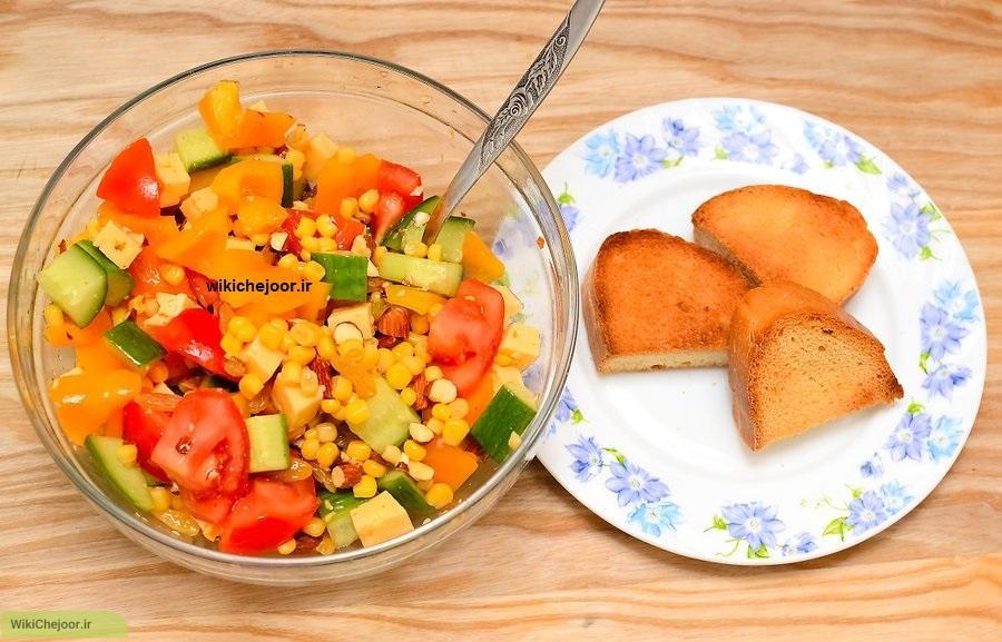 سالاد ذرت با سبزیجات | چگونه سالاد ذرت با سبزیجات درست کنیم؟