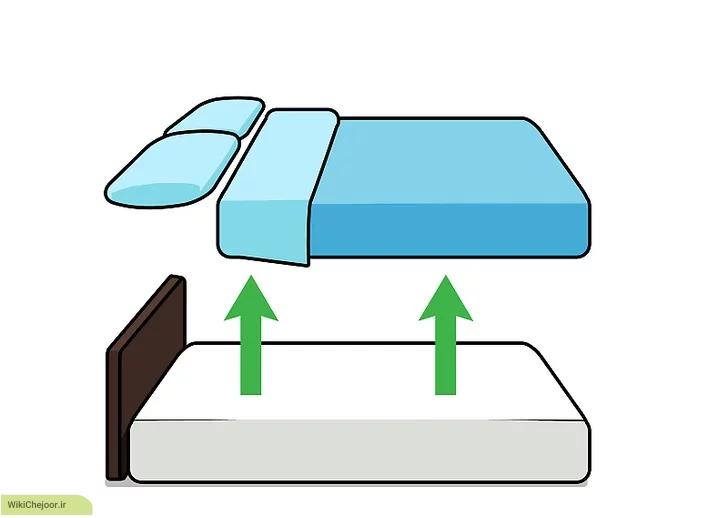 جدا کردن وسایل تخت در تمیز کردن تشک