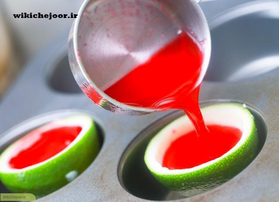 طرز تهیه شات هندوانه ژله ای طبیعی