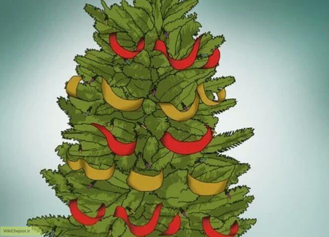 نحوه تزیین درخت کریسمس با روبان