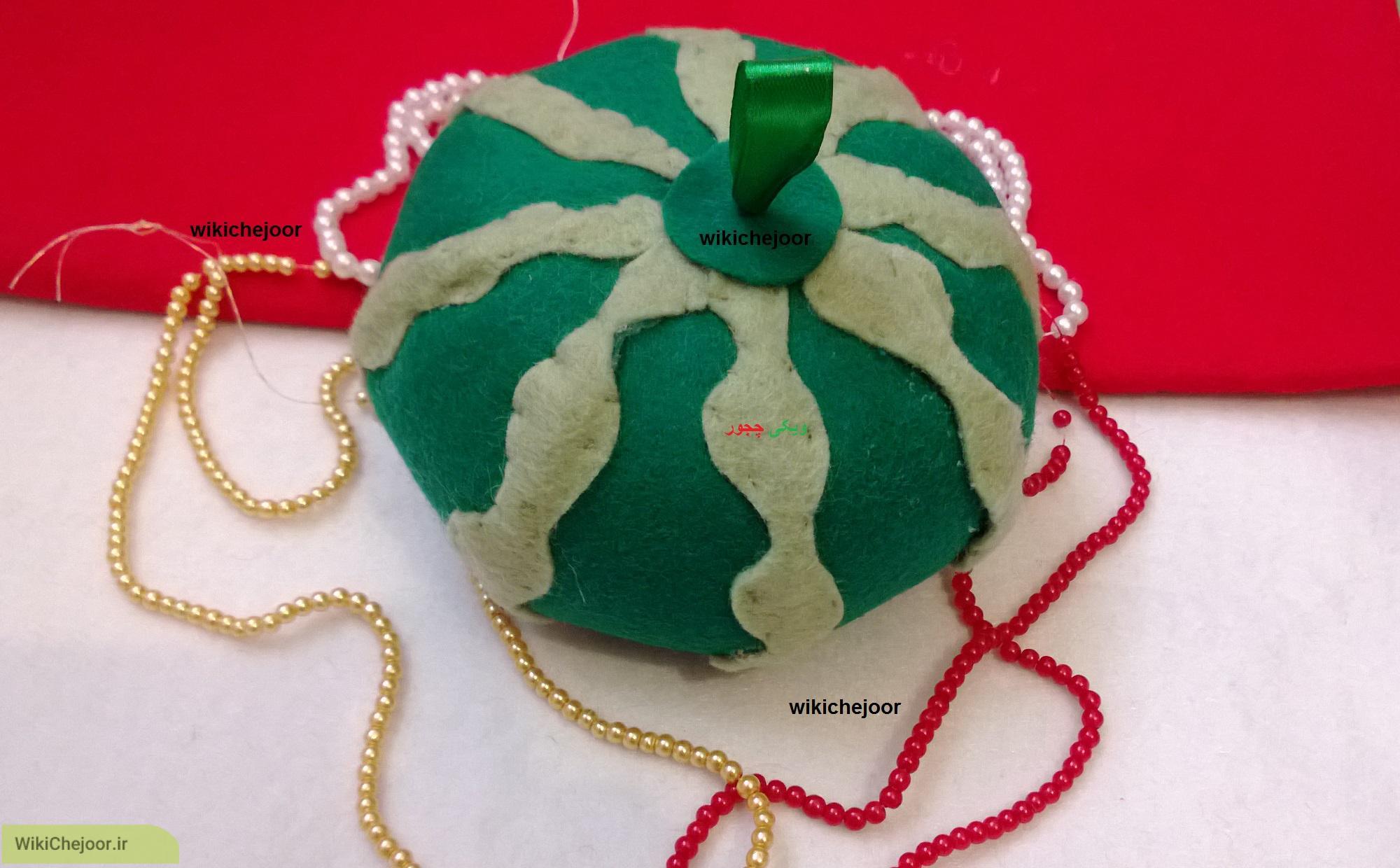 چگونه هندوانه نمدی زیبا و تزیینی برای شب یلدا درست کنیم؟