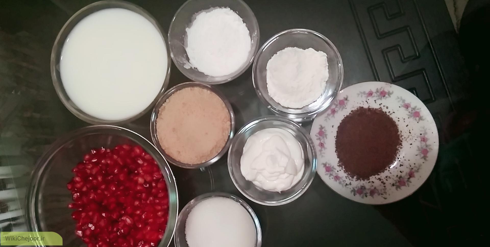 مواد لازم برای درست کردن کرم انار یلدا