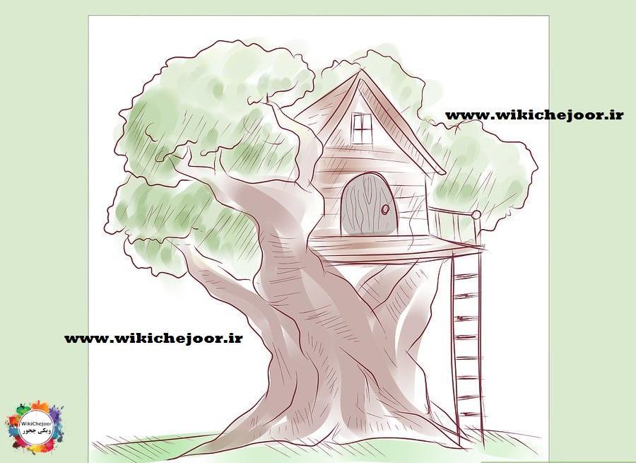 رسم نقاشی خانه درختی