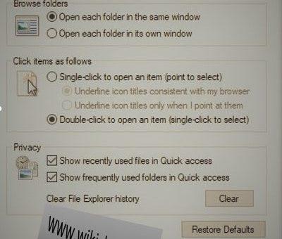 تنظیماتFile Explorer Options