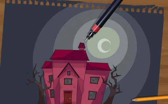 چگونه یک خانه جن زده (خانه ارواح) نقاشی کنیم؟