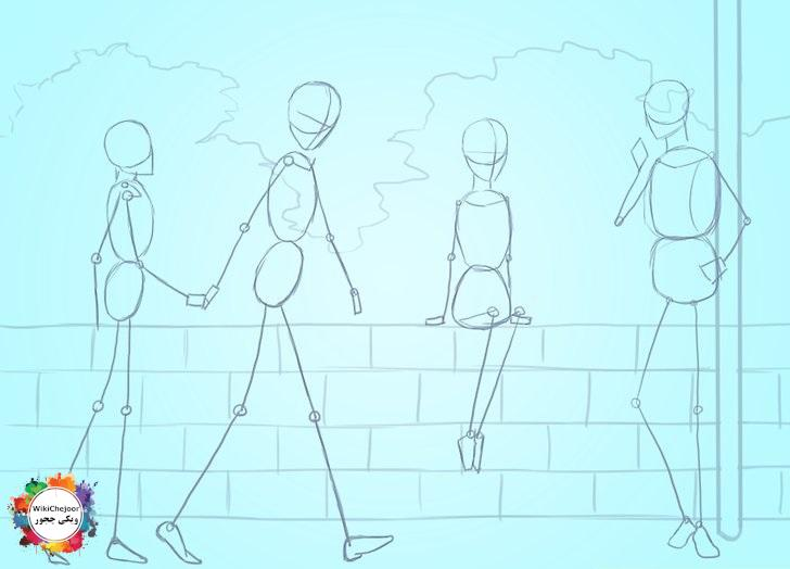 نقاشی افراد در صحنه یا پسزمینه